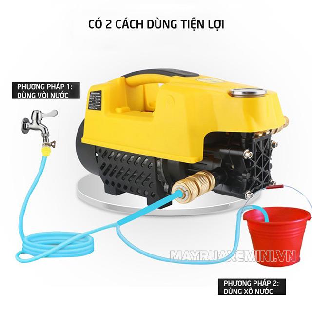 Máy có thể hút nước trực tiếp hoặc đấu nối với nguồn nước