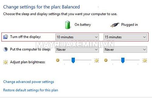 thay đổi thời gian sáng cho màn hình máy tính