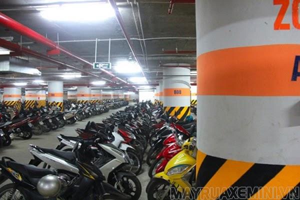 kích thước bãi đỗ xe máy