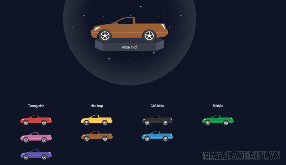 mệnh thổ hợp xe màu gì
