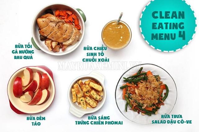 Thực đơn Eat Clean giảm cân 7 ngày đơn giản